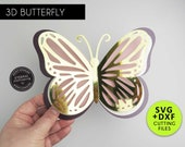 Large 3D Butterfly Cutting File Template, Paper Butterfly SVG, DXF, 3D butterfly nursery decor, butterfly die cuts, butterfly wall decor