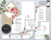 Editable Wedding Invitation Suite, Wedding Invitation template, Printable, Invitation Set, Editable Invitation, Floral Watercolor, Abella