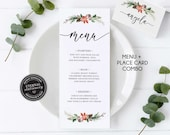 Elegant Christmas Menu and Place Card Template, Christmas Menu Template, Christmas Dinner, Editable Christmas Place Card, 014