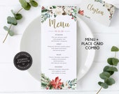 Editable Christmas Menu and Place Card with gold foil and glitter, Editable Christmas Place Card, Editable Christmas Menu Template, 011