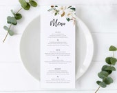 Magnolia Menu Template, Botanical Flowers, Editable Menu, Wedding Menu, Birthday, Christening, Baptism, Dinner menu, modern menu, Chantelle