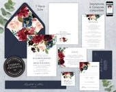 Navy and burgundy editable Wedding Invitation Suite, Wedding Invitation template, Invitation Set, Editable, Floral Watercolor, Elizabeth