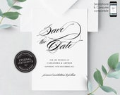 Modern Calligraphy Save the Date Invitation, Wedding Invitation template, Save the Date Printable, Editable Invitation, Cassandra