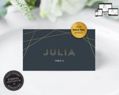 Navy Geometric Place Card Template, Geometric Place Card, Gold Foil effect, Wedding Place Cards, Tent Card, Name Card, Table Card, Julia
