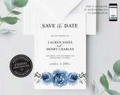 Floral Save the Date, Navy Blue Floral, Wedding Invitation template, Printable, Invitation, Watercolor Flowers, botanical, Lauren