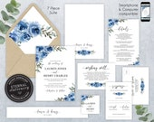 Editable Wedding Invitation Suite, Wedding Invitation template, Printable, Editable, Navy, Blue Rose, Floral Watercolor, Lauren
