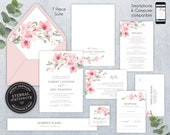 Editable Wedding Invitation Suite, Wedding Invitation template, Printable, Invitation, Floral Watercolor, Cherry Blossom, Sakura, Harriet
