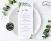 Botanical Eucalyptus Menu Template, Watercolor menu, Editable Menu, Wedding Menu, Birthday, Christening, Baptism, Dinner menu, Scarlett