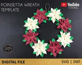 Poinsettia Paper Flower Wreath Template,  SVG/DXF file , Christmas Poinsettia, Cut file for Cricut Cameo Silhouette, christmas wreath