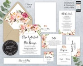 Editable Wedding Invitation Suite, Wedding Invitation template, Printable, Invitation Set, Editable, roses, Floral Watercolor, Elsie