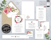 Editable Wedding Invitation Suite, Wedding Invitation template, Invitation Set, Editable Invitation, Floral Watercolor wreath, Charlotte