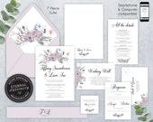 Editable Wedding Invitation Suite, Wedding Invitation template, Printable, Editable Invitation, Corjl, Floral Watercolor, Tiffany