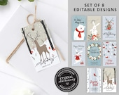 Editable Christmas Gift Tags, Set of 8 Designs, Instant Download, Winter Wonderland Christmas Gift Tags, Holiday Tags, Printable Christmas