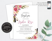 Floral Christening/Baptism Invitation Girl, Baptism, Christening, Editable Template, Printable, Invitation, Baby Girl, watercolour, Abella
