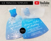 DIY Ice Princess Dress Party Invitation Template, Princess Birthday Party Invitation, Editable Template, Microsoft Word, printable, frozen