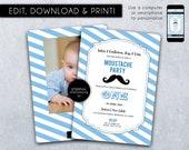 Moustache Birthday Invitation, template, Birthday Invitation Printable, Editable, 1st birthday, baby boy birthday invitation, children, one