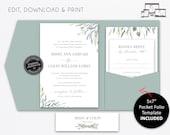 Pocket Wedding Invitation Suite, Floral, greenery, leaves, leafy, Wedding Invitation template, Editable, pocketfold, pocket folio, Missy