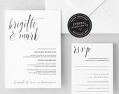 Modern Wedding Invitation Template, Minimalistic Wedding Invitation, Calligraphy Wedding Invitation, geometric, gold foil, Brigitte