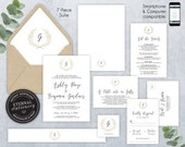 Editable Wedding Invitation Suite, Wedding Invitation template, Printable, Invitation Set, Editable Invitation, geometric, gold foil, Ashley