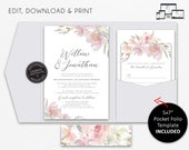 Blush Pink and Grey Pocket Wedding Invitation Suite, Floral, roses, Wedding Invitation template, Editable, pocketfold, pocket folio, Willow