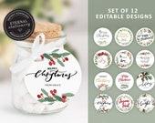 Round Editable Christmas Gift Tags, Set of 12 Designs, Instant Download, Elegant Christmas Gift Tags, Holiday Tags, Printable Christmas Tags
