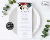 Elegant Navy and Burgundy Floral Menu Template, Watercolour, Editable Menu, Wedding Menu, Birthday, Christening, Baptism, Dinner, Elizabeth