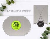 5x7 Scalloped Gatefold Invitation Template, SVG cutting file, DXF, Invitation card, lasercut wedding invitation, gatefold card