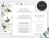 Modern Greenery Wedding Invitation, Wedding Invitation template, Editable Wedding Invitation, Printable Invitation, white flowers, Olivia