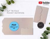 5x7 Ornate Pocket Wedding Invitation Template PDF, Pocket Folio Invitation, printable, pocket invitations, pocket envelope, trifold envelope