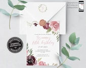 Pink and Burgundy 1st Birthday Invitation, template, Printable, 5th, 1st, floral, girl birthday invitation, watercolor, boho