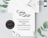 Modern Calligraphy Save the Date Invitation, Wedding Invitation template, Save the Date Printable, Invitation, Editable Invitation, Rebecca