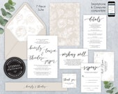 Editable Wedding Invitation Suite, Wedding Invitation template, Printable, Invitation Set, Editable Invitation, calligraphy, Floral, Beverly