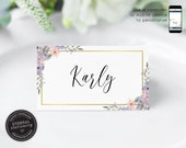 Editable Place Card Template, Floral Watercolor, Wedding Place Cards, Name Card, Table Card, Place Card, Flowers, Calligraphy, Karly