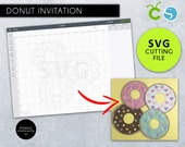 DIY Donut SVG Cutting File, donut party invitation, donut party, donut birthday invitation, donut svg file, Silhouette, Cameo, Cricut