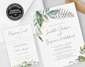 Eucalyptus Leaf Greenery Wedding Invitation, Wedding Invitation template, Wedding Invitation Printable, Editable Invitation, DIY, Scarlett