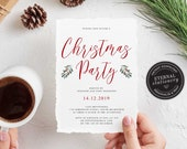Editable Christmas Party Invitation Template, Christmas Invitation Printable, Editable Invitation, Instant Download, Holiday Invitation, 001