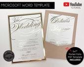 Microsoft Word Wedding Invitation Template with Pocket Envelope, Gold Foil Invitation, blush, nude, gold, pocket invitation, Cassandra