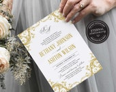 Gold Ornate Filigree Wedding Invitation, Wedding Invitation template, Wedding Invitation Printable, Editable, french, damask, Bethany