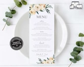 Modern Floral Menu Template, Watercolour floral, roses, eucalyptus, Editable Menu, Wedding Menu, Birthday, Christening, Baptism, Gabriella