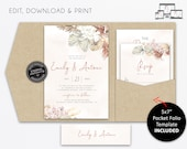 Boho Pocket Wedding Invitation Template, Boho Invitation, Pampas Grass, Bohemian, Boho Chic, Neutral Florals, pocketfold, pocketfolio, Emily
