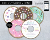 Donut Party Birthday Invitation Template, Birthday Party Invitation, Printable, Donut, Invitation, Editable Invitation, DIY, Donut Party