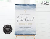 Baptism Welcome Sign Template for Boy, Watercolor Baptism Sign, Baptism Boy, Christening Welcome Sign Boy, Modern Baptism Sign Boy, Jackson