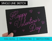 Single Line SVG for Foil Quill, Engraving Svg , Foil Quill SVG, Cricut, Silhouette, Happy Valentines day card, svg file, valentine's day svg