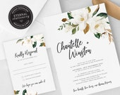 Elegant Magnolia Wedding Invitation, Wedding Invitation template, Wedding Invitation Printable, Editable, Watercolour, botanical, Chantelle