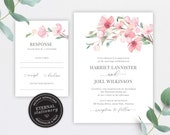 Cherry Blossom Wedding Invitation, Wedding Invitation template, Editable Wedding Invitation Printable,, Watercolor flowers, Sakura, Harriet