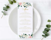 Soft Floral and Eucalyptus Watercolor Menu Template, Editable Menu, Wedding Menu, Birthday, Christening, Baptism, Dinner, roses, Caroline