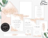 Rose Gold Watercolour Wedding Invitation Suite, Wedding Invitation template, Editable Invitation, Blush, Gold Foil, Watercolor, Liana