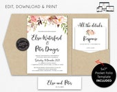 Pocket Wedding Invitation Suite, Floral, Boho, Nude, Wedding Invitation template, Printable, Editable, DIY, pocketfold, pocket folio, Elsie