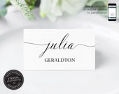 Editable Calligraphy Place Card Template, Wedding Place Cards, Tent Card, Name Card, Table Card, Place Card, Engagement, Birthday, Jemima