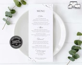 Elegant Calligraphy Menu Template, Minimalist, Editable Menu, modern menu, lettering, Wedding Menu, Birthday, Christening, Baptism, Rebecca